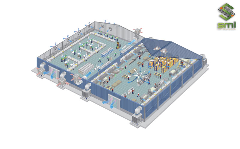 Để có một bản vẽ hệ thống làm mát nhà xưởng hoàn chỉnh cần trải qua quy trình làm việc khoa học