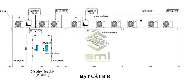 Bản vẽ hình chiếu đứng - phương án lắp đặt Sumitech đề xuất
