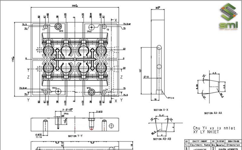 Bản vẽ thiết kế Jig gá khuôn ép nhựa