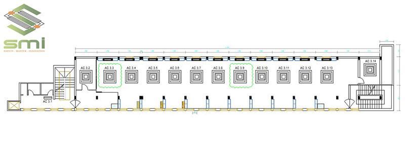 Bản vẽ thông gió nhà xưởng với vị trí trí chi tiết từng thiết bị