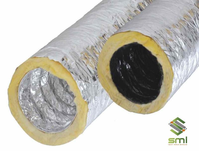 Bên trong ống thông gió công nghiệp mềm có lớp bông thủy tinh cách nhiệt