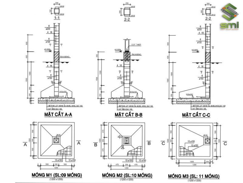 Kết cấu một móng nhà xưởng tiền chế đơn giản