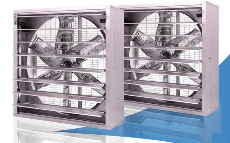 Quạt thông gió cho nhà xưởng có thanh chớp điều chỉnh hướng gió phía trước và lưới bảo vệ phía sau