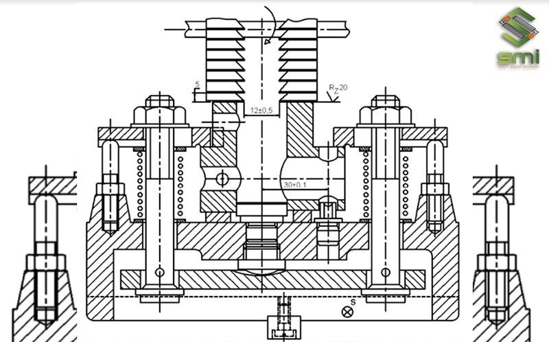 Bản vẽ thiết kế đồ gá phay hai mặt bên ống trượt