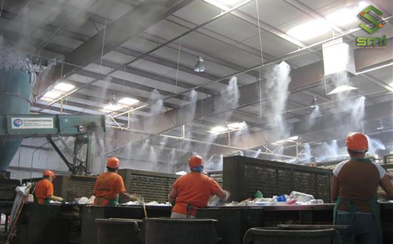 Giàn phun sương trong nhà xưởng