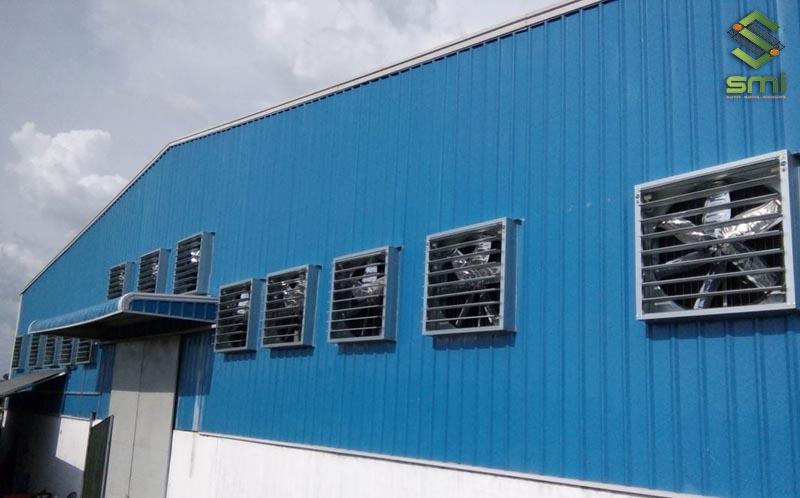 Hệ thống thông gió kiểu hút cho nhà xưởng công nghiệp