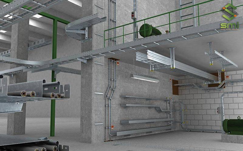 Hình 3D thiết kế hệ thống máng điện của SUMITECH