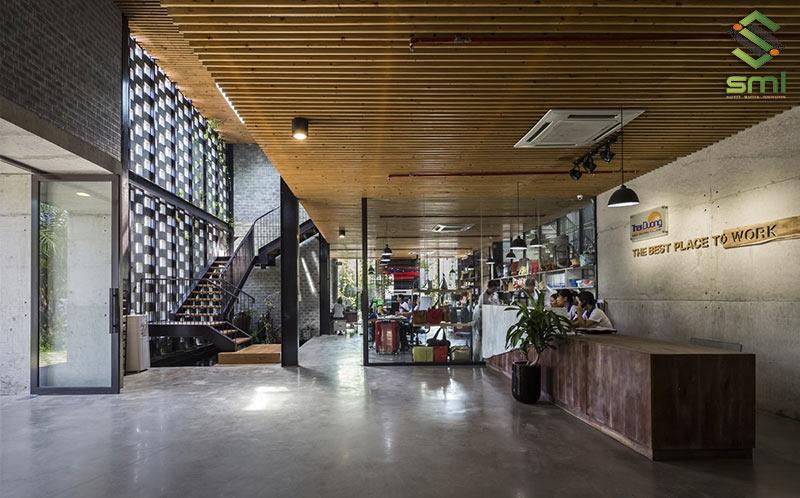Kết hợp khu văn phòng, lễ tân và xưởng sản xuất trên cùng 1 diện tích