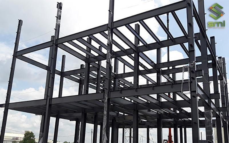 Khung thép của nhà xưởng thép tiền chế 2 tầng