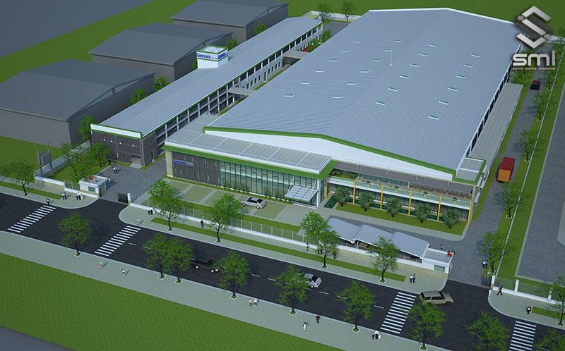 Mô hình xây dựng nhà xưởng kết hợp 3 trong 1 gồm có văn phòng, xưởng sản xuất và nhà nội trú cho công nhân