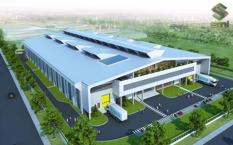 Nhà xưởng khung thép 2 tầng kết hợp văn phòng diện tích lớn, hệ thống thông gió và làm mát hiện đại