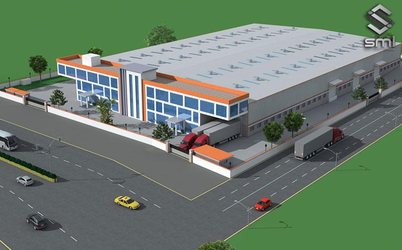 Nhà xưởng sử dụng loại thông gió mái được phân phối đồng đều mọi khu vực, khu văn phòng được thiết kế ở phần trước nhà xưởng làm tăng thêm thẩm mỹ và phong cách hiện đại cho doanh nghiệp