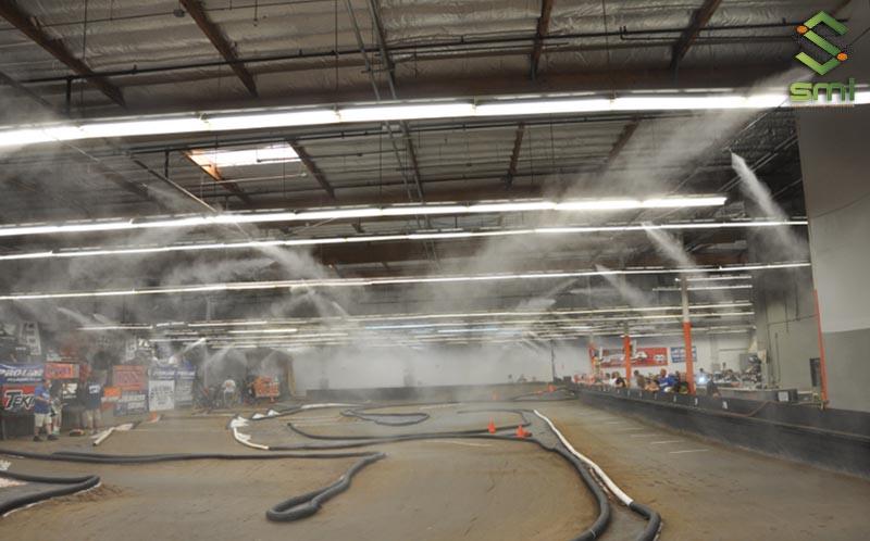 Phun sương làm mát nhà xưởng giúp hạn chế bụi