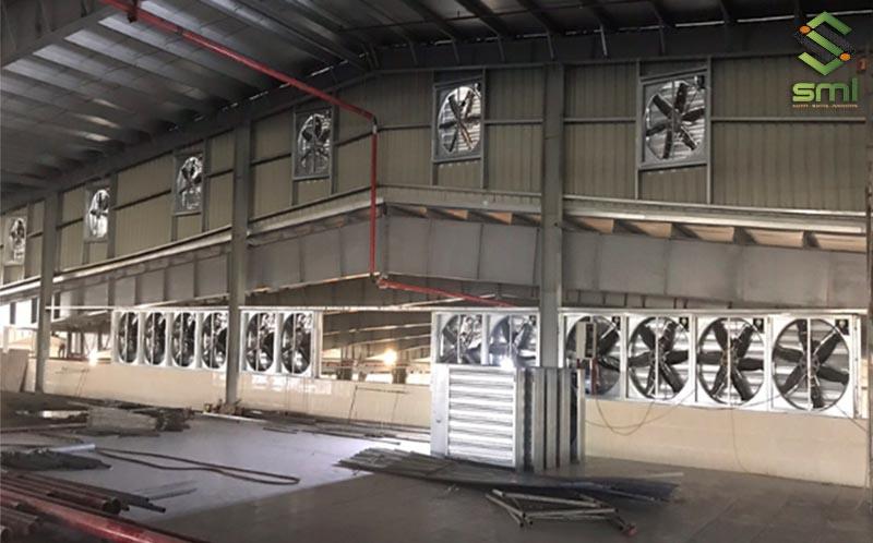 Hệ thống quạt gắn tường thống gió nhà xưởng