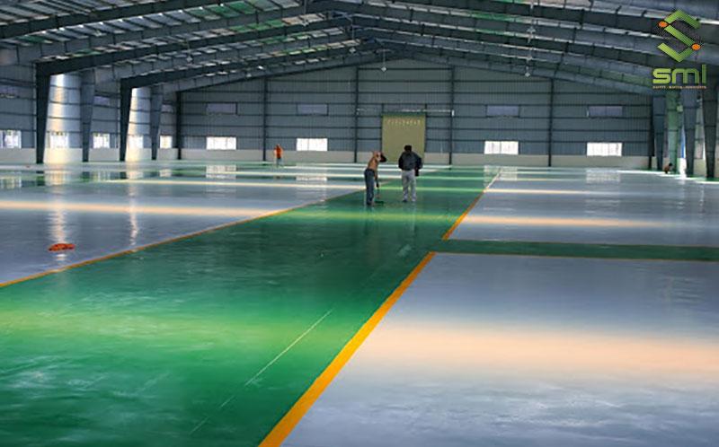 Nền nhà xưởng thép tiền chế nên được sơn Epoxy để đảm bảo độ bền