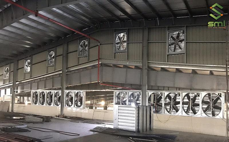Hệ thống làm mát nhà xưởng bằng quạt thông gió được sử dụng khá rộng rãi hiện nay