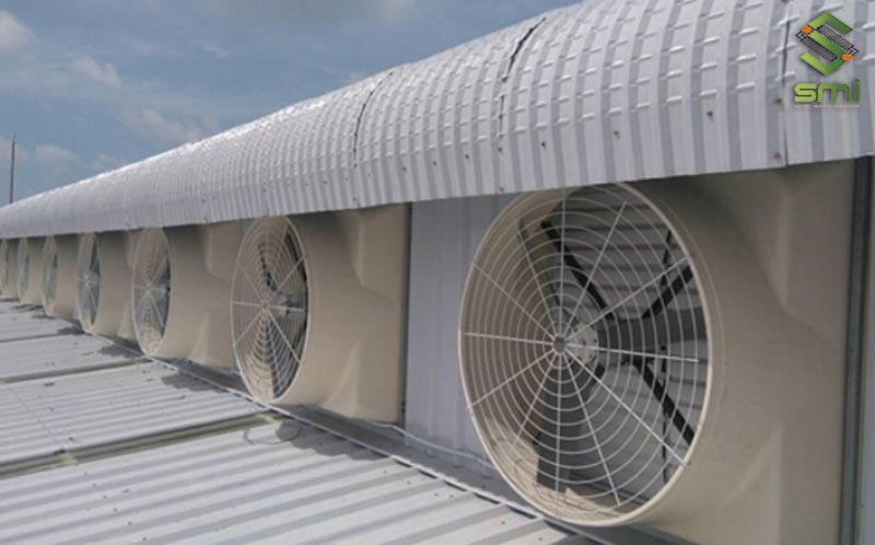 Sử dụng quạt thông gió làm mát nhà xưởng